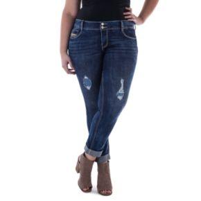 Juniors' Plus Size Amethyst Cuffed Girlfriend Jeans