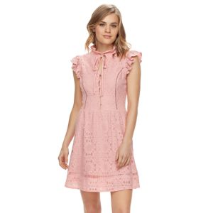Disney's Beauty and the Beast Juniors' Ruffle Mockneck Lace Dress