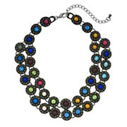 Colorful Double Row Statement Necklace