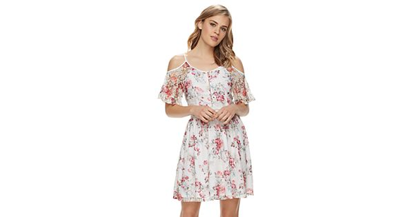 Disney's Beauty and the Beast Juniors' Floral Lace Cold-Shoulder Dress