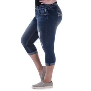 Juniors' Plus Size Amethyst Ripped Capri Jeans