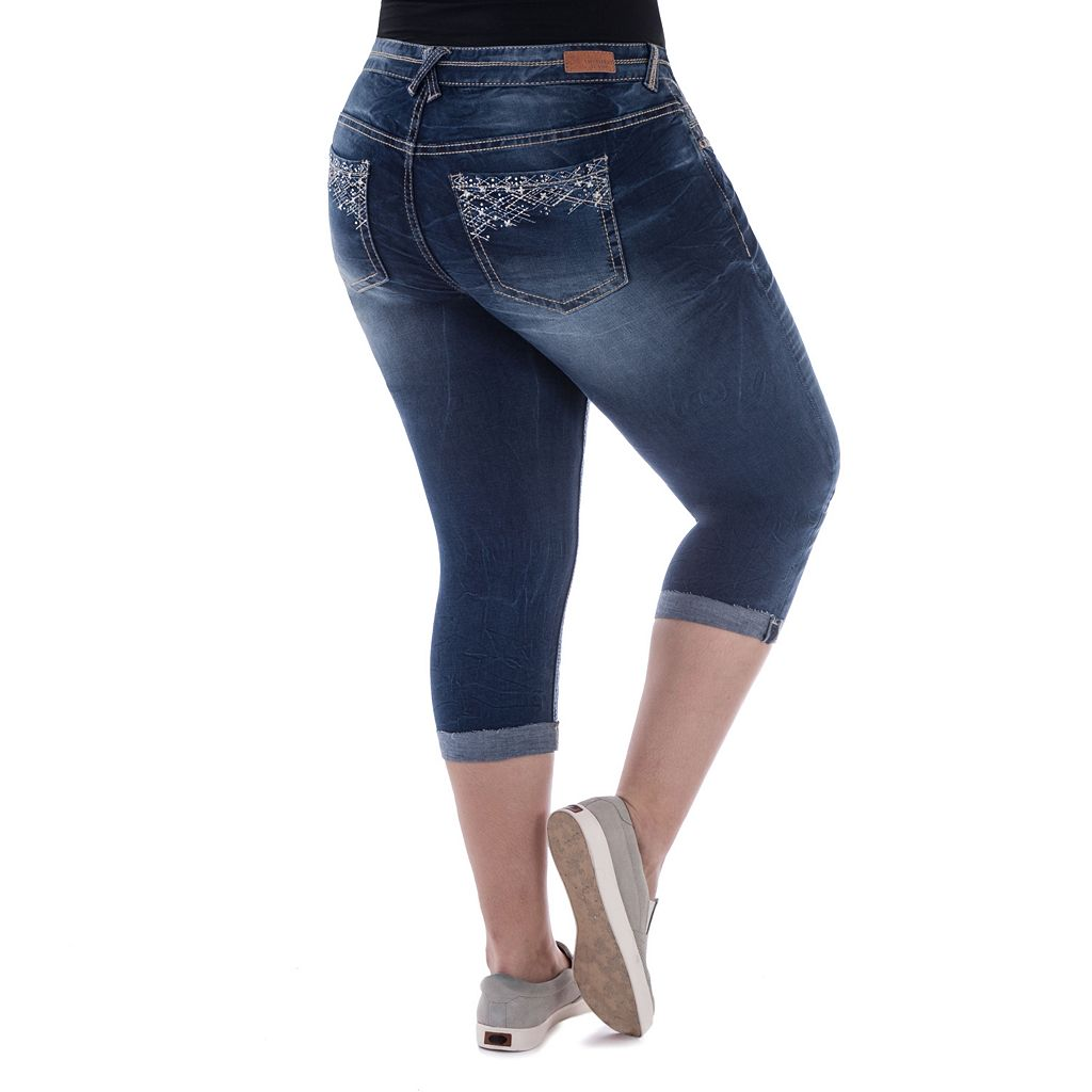 Juniors' Plus Size Amethyst Ripped Capri Jeans