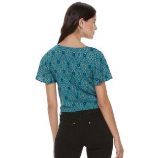 Juniors' Mudd® Print Tie Front Top