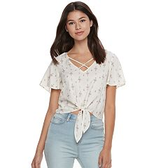 Juniors' Mudd® Print Tie Front Top