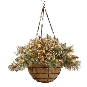 National Tree Company Pre-Lit Artificial Pine Glitter Hanging Basket