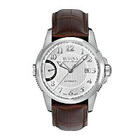 Bulova Men's Accu Swiss Automatic Leather Watch - 63B171