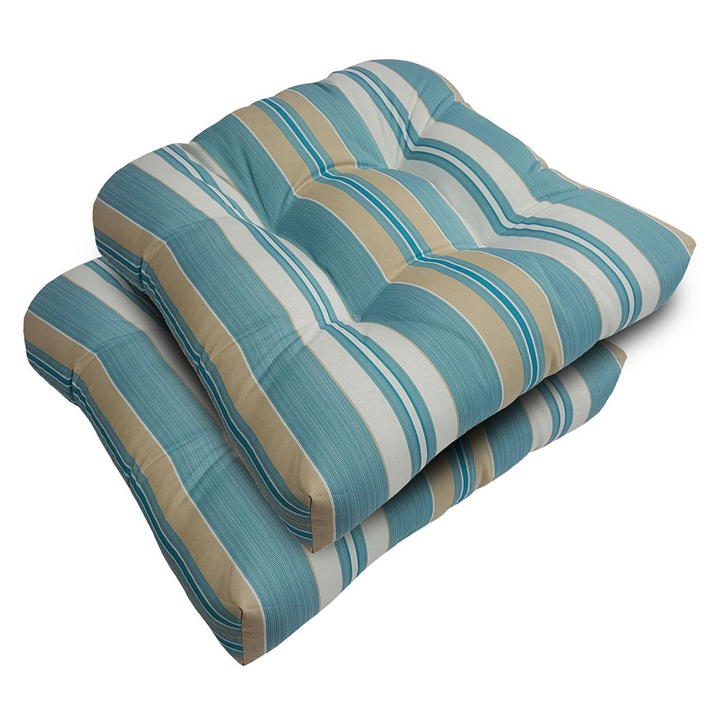 SONOMA Goods for Life™ 2-piece Suntastic 1000 Striped Indoor Outdoor Reversible ''U'' Chair Cushion Set