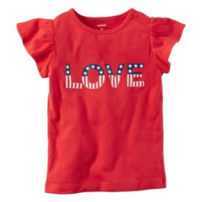 "Girls 4-8 Carter's ""LOVE"" American Flag Graphic Tee"