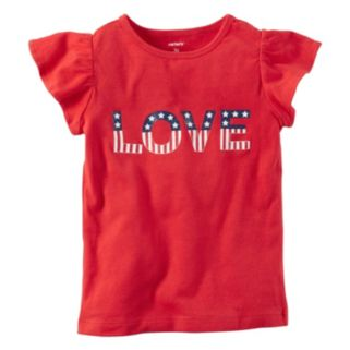 """Girls 4-8 Carter's """"LOVE"""" American Flag Graphic Tee"""
