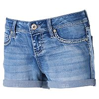 Juniors' Hydraulic Bailey Embellished Denim Shortie Shorts