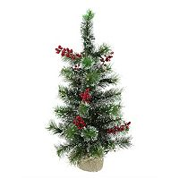 2-ft. Pre-Lit Artificial Pine & Berry Christmas Tree
