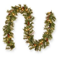 pre lit glistening artificial pine christmas garland