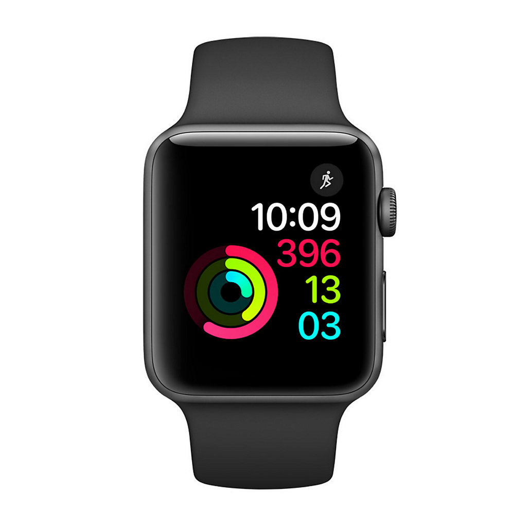 Apple Watch Series 2 (38mm with Space Gray Aluminum with Black Sport Band)