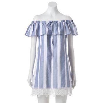 Juniors' Trixxi Striped Off-the-Shoulder Dress