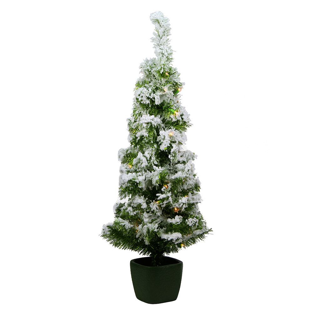 Pre-Lit Potted Artificial Flocked Christmas Tree