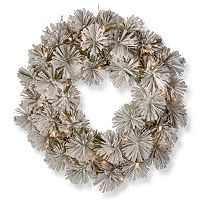 National Tree Company 24-in. Pre-Lit Artificial Snowy Bristle Pine Christmas Wreath