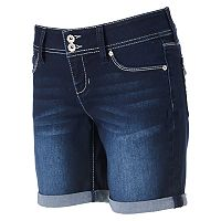 Juniors' Hydraulic Lola Faded Denim Bermuda Shorts