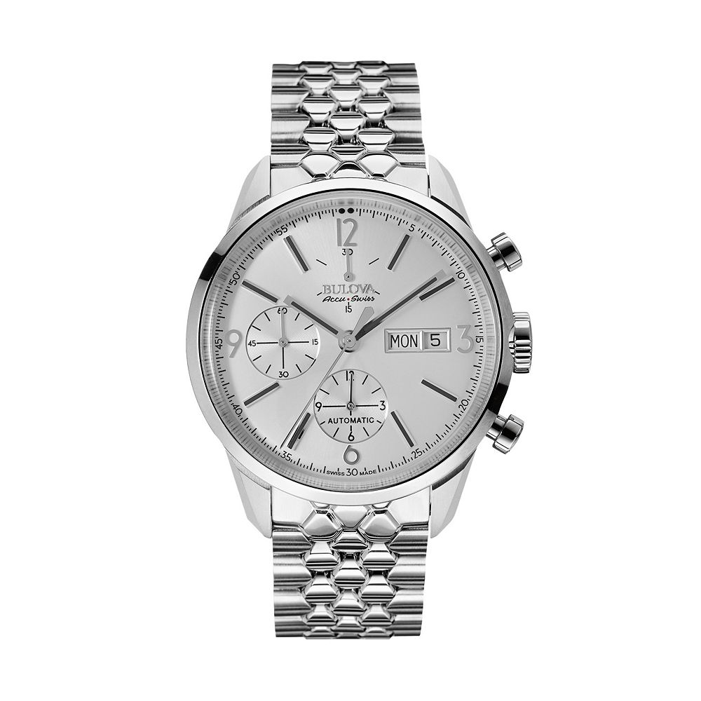 men s accu swiss automatic stainless steel watch bulova men s accu swiss automatic stainless steel watch