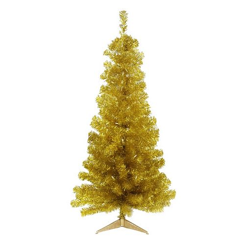 4-ft. Pre-Lit Artificial Gold Finish Tinsel Christmas Tree