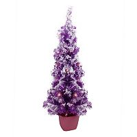 Pre-Lit Artificial Potted Purple Tinsel Christmas Tree