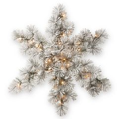 National Tree Company 32 in Pre-Lit Artificial Snowy Bristle Pine Snowflake Wall Decor