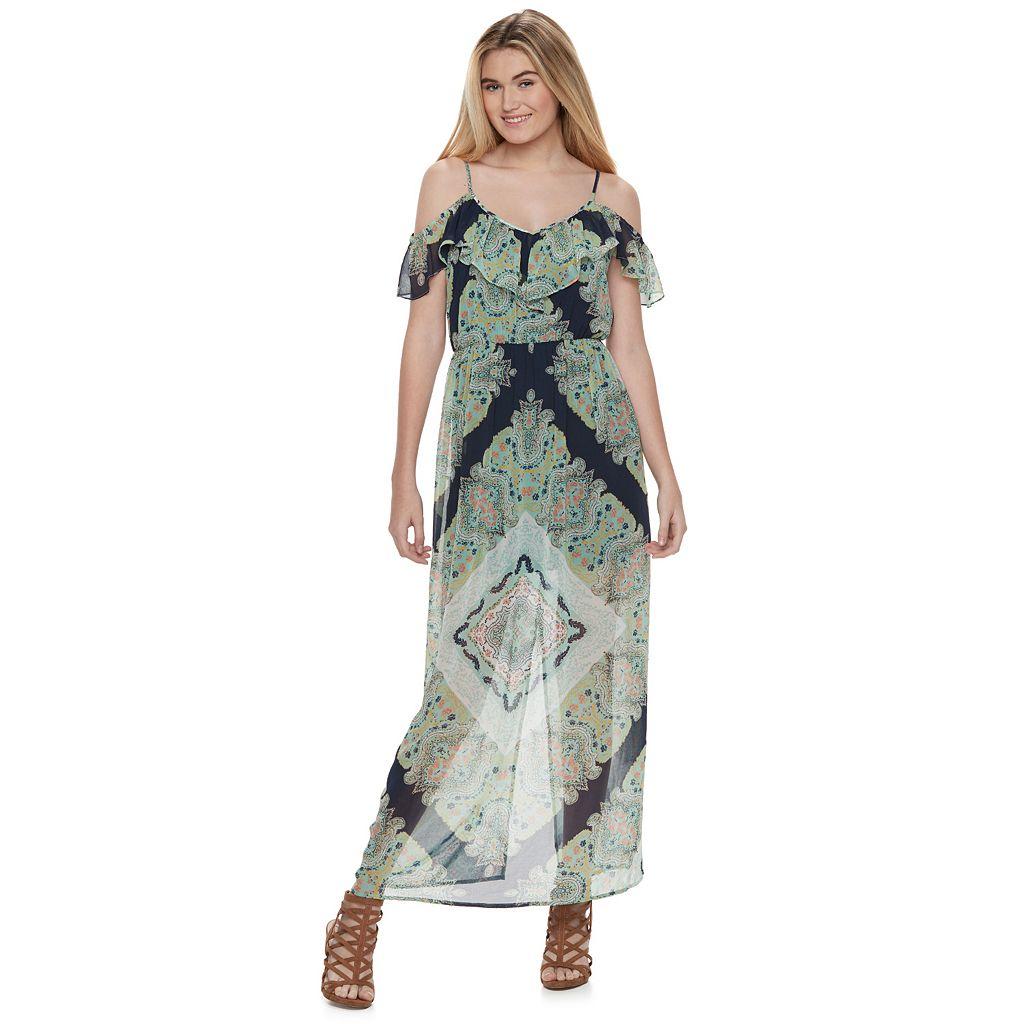 Juniors' Lily Rose Paisley Cold-Shoulder Maxi Dress