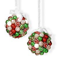 National Tree Company Glitter Ball Christmas Ornament 2 pc Set