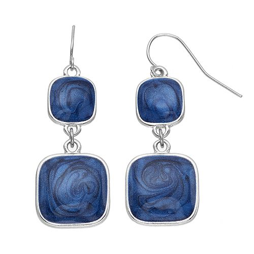 Blue Marbled Double Drop Earrings