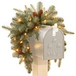 National Tree Company 36-in. Pre-Lit Artificial Frosted Arctic Spruce Mailbox Decor
