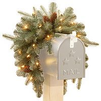 National Tree Company 36 in Pre-Lit Artificial Frosted Arctic Spruce Mailbox Decor