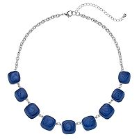 Blue Graduated Swirling Square Necklace