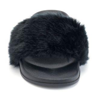 Candie's® Women's Faux-Fur Slide Sandals