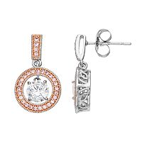 Lily & Lace Pink & White Cubic Zirconia Two Tone Orbital Drop Earrings