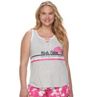 Juniors' Plus Size SO® Beach Squad Lace-Up Tank Top