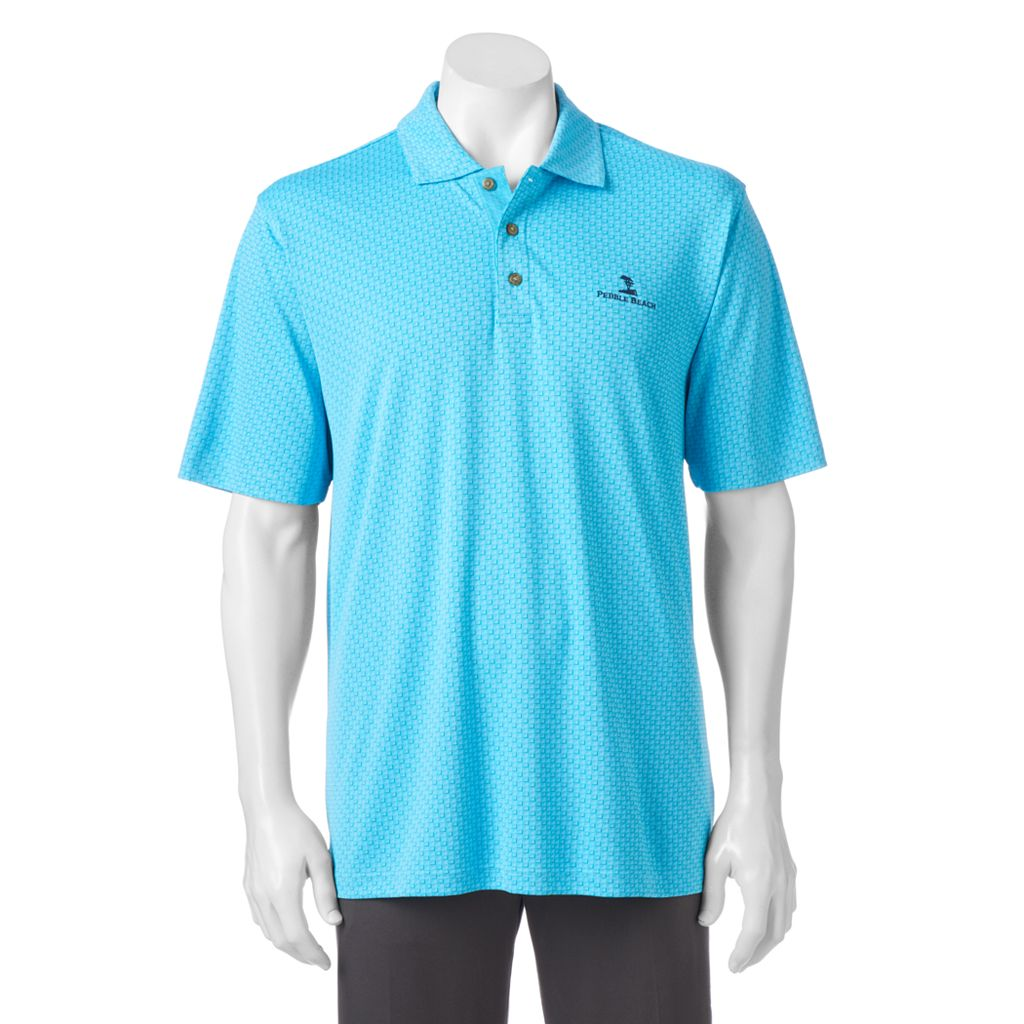 Men's Pebble Beach Classic-Fit Tonal Jacquard Performance Golf Polo