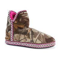 MUK LUKS Women's Amira Camouflage Fleece Bootie Slippers