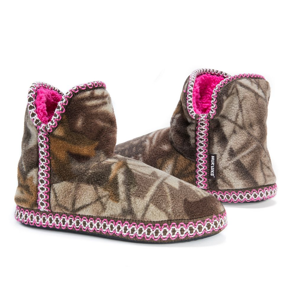 MUK LUKS Women's Amira Camouflage Fleece Bootie Slippers