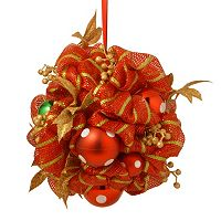 National Tree Company 16 in. Artificial Striped Red Ribbon Kissing Ball