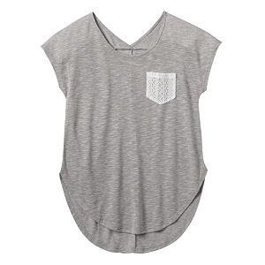 Girls 7-16 & Plus Size Mudd® Dolman Crochet Pocket Slubbed Tee