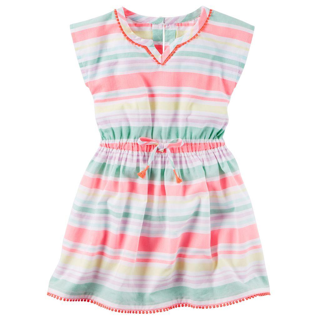 Girls 4-8 Carter's Pom-Pom Trim Striped Woven Dress
