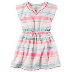 Girls 4-8 Carter's Pom-Pom Trim Striped Woven Dress