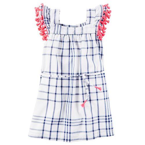 Girls 4-8 Carter's Tassel Trim Plaid Dress