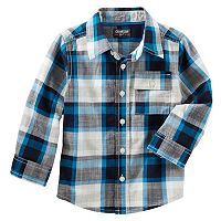 Boys 4-12 OshKosh B'gosh® Blue & Black Plaid Button-Front Shirt