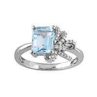 Laura Ashley Sterling Silver Sky Blue Topaz & 1/10 Carat T.W. Diamond Bow Ring