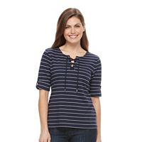 Petite Croft & Barrow® Striped Lace-Up Tee