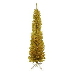 6-ft. Pre-Lit Artificial Gold Finish Tinsel Christmas Tree