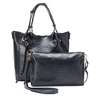 La Diva 2-in-1 Carter Snakeskin Tote with Removable Pouch