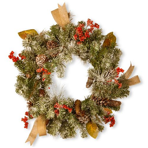 "National Tree Company 24"" Snowy Artificial Christmas Wreath"