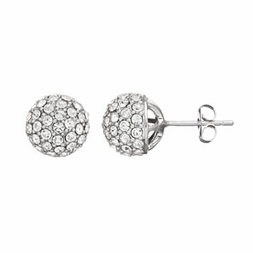 Silver Luxuries Silver Plated Crystal Ball Stud Earrings