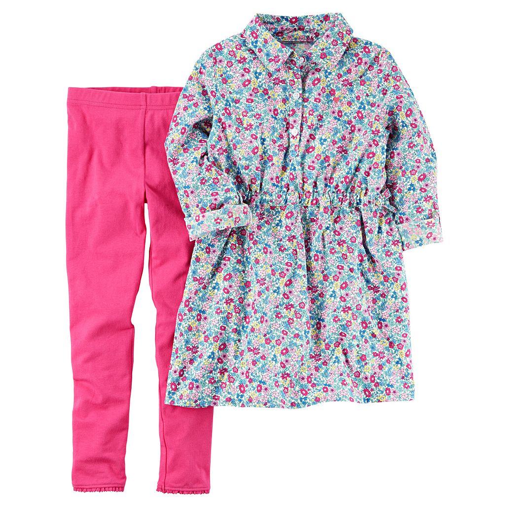 Girls 4-8 Carter's Floral Long-Sleeved Shirt & Leggings Set